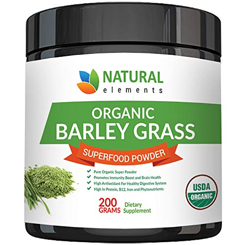 Juice Usa Grass Powder Barley - Barley Grass Powder - USDA Certified Organic Barley Grass Powder - Non-GMO, Vegan, and Non-Irradiated - Rich In Antioxidants, Protein, Fiber, Minerals, Chlorophyll, Amino Acids and Protein - 200 Grams