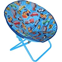 Adorable, Foldable, Soft and Cuddly American Kids Printed Faux-Fur Saucer Chair, Multiple Patterns, Transportation, Blue