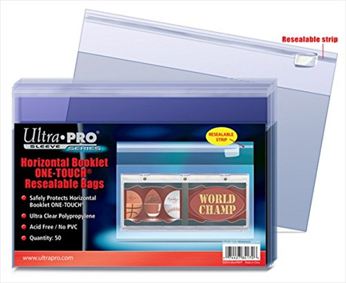 Ultra Pro One-Touch Horizontal Booklet Card Resealable Bag, 50 (50 Pack Resealable Bags)