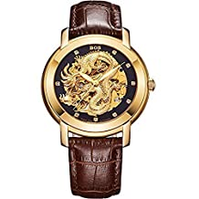 BOS Men's 'Dragon Collection' Luxury Carved Dial Automatic Mechanical Calfskin Waterproof Gold Watch 9007