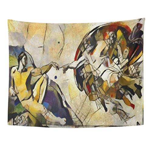 Emvency Tapestry 80 x 60 Inches Alternative Reproduction of The Creation Adam Fresco by Michelangelo in Picasso Author's Work Oil Home Decor Tapestries Wall Hanging Art for Living Room ()