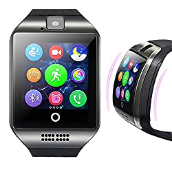 Lovewe 2018 Q18 Bluetooth Smart Watch GSM Camera TF Card Phone Wrist Watch for Android & iOS For Women Men (Black)