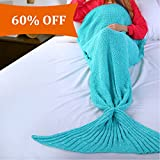 Image of Balichun Knitted Mermaid Tail Blanket for Kids(Green,23.6x55 inch)
