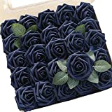 Floroom Artificial Flowers 50pcs Real Looking Navy
