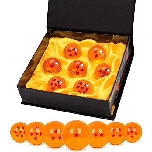 TATAFUN Bolas del Dragon, 7 PCS Dragon Ball Dragonball 1 a 7 Estrellas con Caja de Regalo, Bola de Cristal Transparente,decoracion K9- Diametro 4,3cm