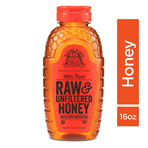 Nature Nate's 100% Pure Raw & Unfiltered Honey; 16-oz. Squeeze Bottle; Certified Gluten Free and OU Kosher Certified; Enjoy Honey's Balanced Flavors, Wholesome Benefits and Sweet Natural Goodness