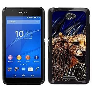 EJOY---Cubierta de la caja de protección para la piel dura ** Sony Xperia E4 ** --Cat Cougar felina Naturaleza Animales Salvajes