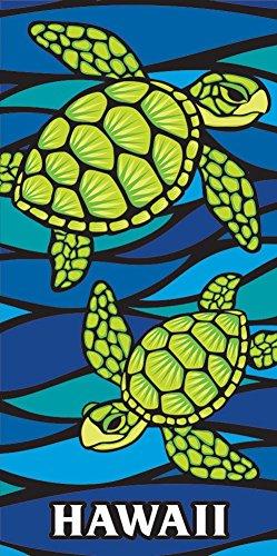 (Island Home Hawaii Style Beach Towel Blue Honu Turtle Sea Glass)