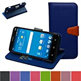 ZTE Grand X Max Case,Mama Mouth [Stand View] Folio Flip Premium PU Leather [Wallet Case] With Built-in Media Stand ID Credit Card / Cash Slots and Inner Pocket Cover For ZTE Grand X Max Z787,Blue