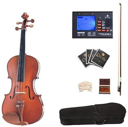 Cecilio CVA-400 Solid Wood Viola with Tuner, Case, Bow, Rosin, Bridge and Strings, Size 16.5-Inch 16.5CVA-400+92D
