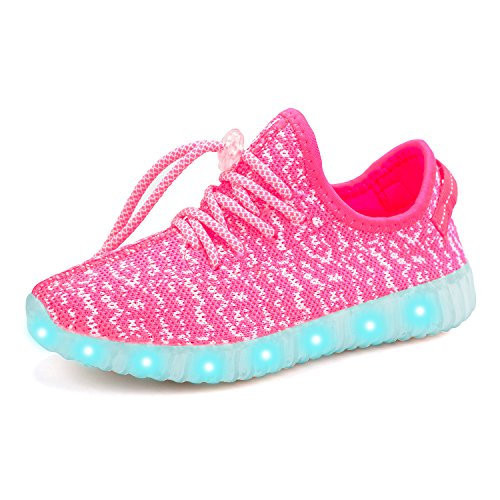 Girls Light Up Shoes (Green Hope-Rise Field LED Flashing Sneakers Light Up Sport Shoes for Boys Girls DQ588-Pink-29)