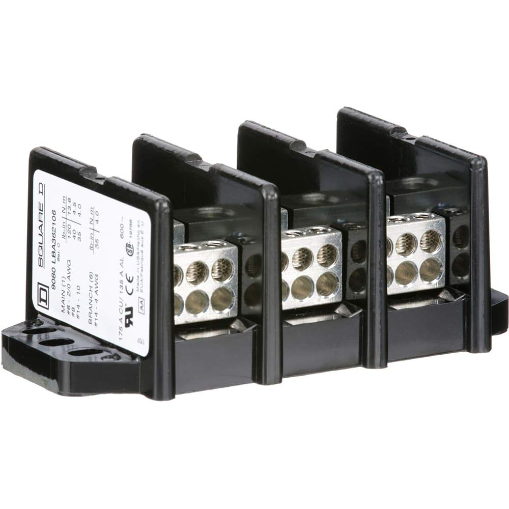 Distribution Block; Power; 3Pole; 600V; 175A; 1-Main/6-Branch Terminals by SCHNEIDER-ELECTRIC (Image #1)