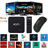 [2017 Free Wireless US Mini keyboard] Bros Unite MXV Amlogic S805 Quad Core Android Tv Box Full Loaded Add-ons with BT Smart Player Streaming Media Player