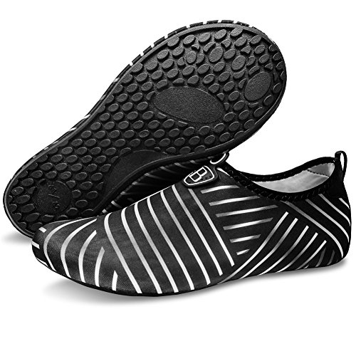 Barerun Women and Men Quick-Dry Barefoot Water Shoes For Beach Pool Surf Swim Yoga Black 8.5-9.5 US Women 7-7.5 US Men