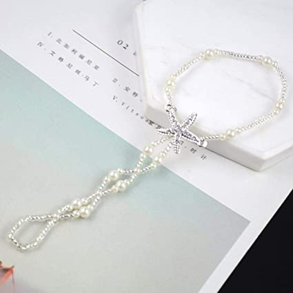 Image Unavailable. Image not available for. Color  Funnmart Sexy Crystal  Star Anklets Charm Beach White Starfish Jewelry Sandals Barefoot Ankle  Beads Chain ... 932f5a440e71