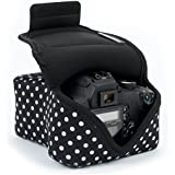 DSLR Camera Case / SLR Camera Sleeve (Polka Dot) with Neoprene Protection , Holster Belt Loop & Accessory Storage by USA Gear - Works With Nikon D3400 / Canon EOS Rebel SL2 / Pentax K-70 & Many More