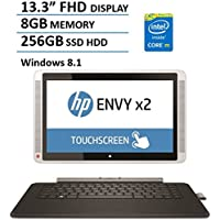 HP Envy x2 2-in-1 Tablet Laptop Computer (13.3 FHD IPS Touchscreen, Intel Core M-5Y70 up to 2.6GHz Processor, 8GB DDR3, 256GB SSD, 802.11ac Wifi, USB 3.0, HDMI, Windows 8.1) (Certified Refurbished)