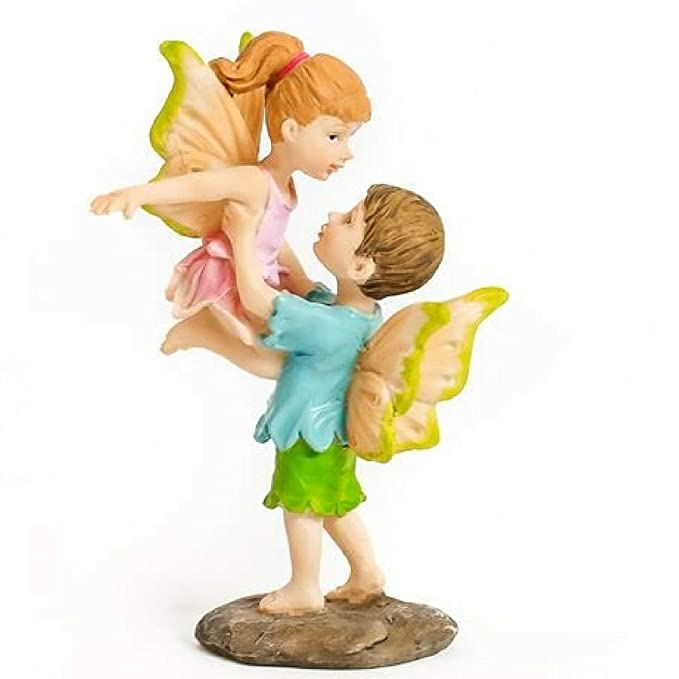 WILD PIXY Miniature Fairy Figurine 'Learning to Fly' Girl and Boy Fairy Garden Accessories for Indoor or Outdoor Use, Whimsical and Magical for Girls or Adults.