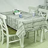 Tablecloths with Natural Wooden Grain Pattern, Dining Room Vintage Cotton Linen Tablecloth for Rectangle Tables, Table Covers for Wedding, Thanksgiving, christmas party (Vintage grey-55.12''x70.87'')