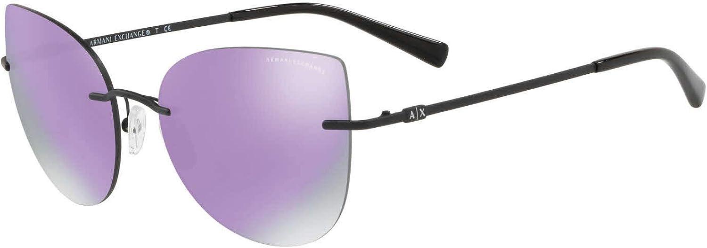 Armani Exchange AX2025S Gafas de Sol Negro Matte con Lentes Espejo Gris y Violeta 56mm 60634V AX2025 AX 2025 AX 2025S