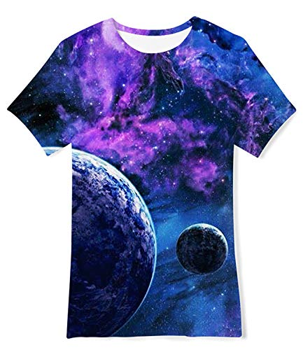 3D Galaxy Sky Printing T Shirts for Little Boys Girls 10 Years for Primary School Life 10-12 T (Little Big Planet Kids Tshirt)