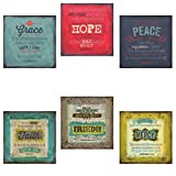 Inspirational Faith Freedom Mercy & Grace Hope Peace Bible Verses; Religious Decor; 6 12x12in Poster Prints