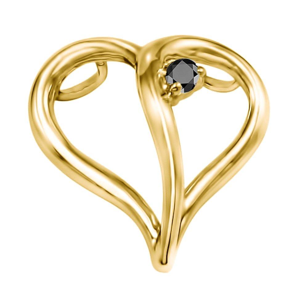 Black Diamonds 0.04 ct 0.04 ct TwoBirch Silver Heart Shaped Pendant Chain set Black Diamonds