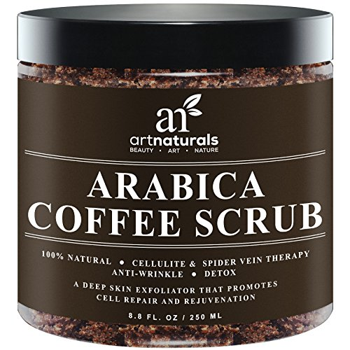 Art Naturals Organic Arabica Coffee Scrub 8.8 oz -The Most Powerful Remedy for Varicose Veins,Cellulite, Stretch Marks, Eczema & Acne - Deep Skin Exfoliator That Promotes Cell Repair &Rejuvenation