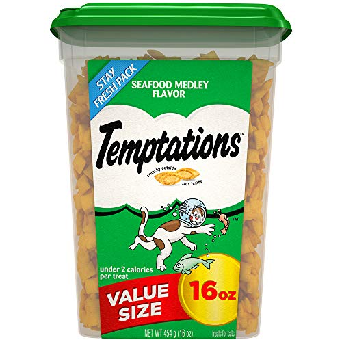 TEMPTATIONS Classic Treats for Cats Seafood Medley Flavor, 16 oz. -