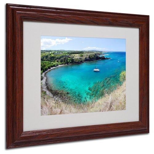 picture of Trademark Fine Art Honolua Bay by Pierre Leclerc Canvas Wall Artwork, Wood Frame, 11 by 14-Inch