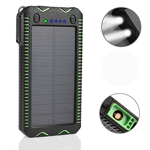 F.Dorla 20000mAh Solar Charger with Cigarette Lighter Function,Rugged Outdoor Camping Waterproof Power Bank Protable External Battery 3 Lighting Modes Flashlight for iPhone iPad Cellphones (Solar Panel Macbook Charger compare prices)