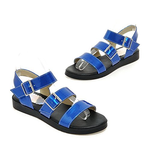 Low Heels Darkblue Toe Sandals Womens Solid Buckle AalarDom Open wXqBIw7