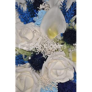 Scottish Bridesmaid Bouquet w/ Navy Sea Holly Thistle, Ivory Roses and Navy Allium 2