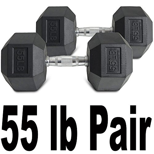 Pair 55 lb Black Rubber Coated Hex Dumbbells Weight Training Set 110 lb Fitness by Titan Fitness (Image #1)