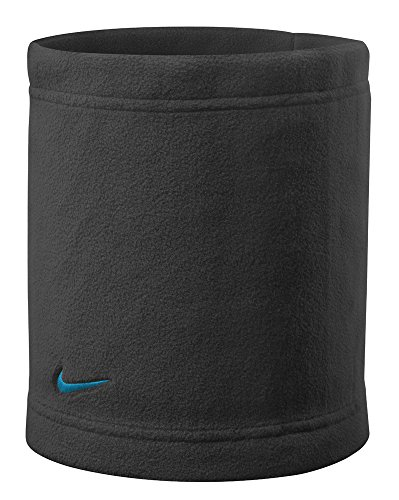 Nike Basic Neck Warmer (One Size Fits Most, Black/Blue Lagoon) Swoosh Fleece Neck Wrap (Soccer Neck Thermal)
