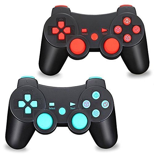 TPFOON PS3 Wireless Controller with Charging Cable, 2Pcs Pack Bluetooth Double Vibration Sixaxis Gamepad Joystick Compatible with Sony Playstation 3 PS3