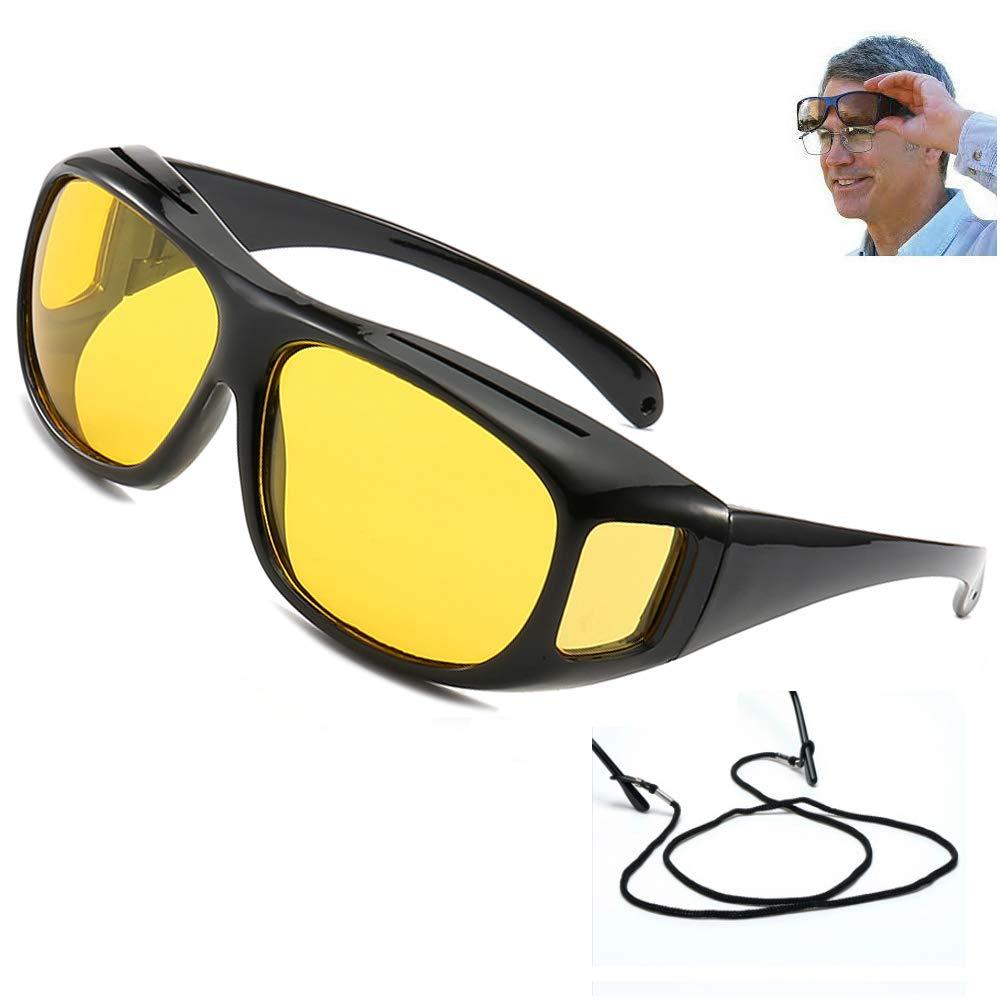 21edee87da0b UV400 Night Vision Goggles Fit Over Prescription Glasses Wrap Arounds  Sunglasses Driving Protection - - Amazon.com
