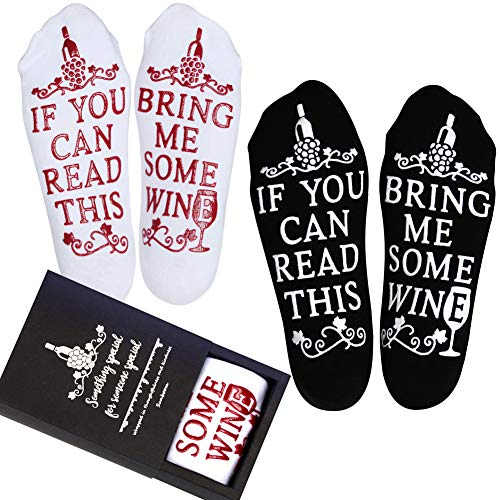 Wine Gifts for Women Men, Christmas Funny Gifts for Mom Dad Grandma, Birthday Gift Ideas, If You Can Read This Bring Me Some Wine Socks, Stocking Stuffers Wine Accessories and Gift Boxes (Two Pairs) ()