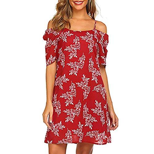 Tantisy ♣↭♣ Women's Summer Chiffon Floral Printed Cold Shoulder Loose Short Dress Adjustable Straps Red