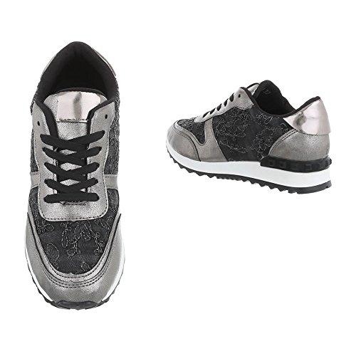 Zapatillas Bajas G 98 Mujer Negro para Design Ital Zapatos Zapatillas Plateado Plano xRXFwvqI