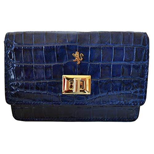 Collection Croco Clutch (Pratesi Italian Leather Le Sieci Womens Clutch Handbag Purse in cow leather Croco King Collection, Blue)