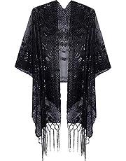 VIJIV Women's Vintage 1920s Shawl Wrap Sequin Fringed Bolero Flapper Evening Cape For Gatbsy Prom Formal