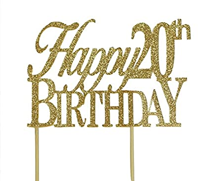 All About Details Gold Happy 20th Birthday Cake Topper