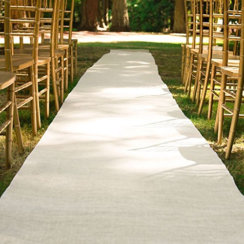 100 ft. x 3 ft. Wedding Aisle Runner Burlap White by LinenTablecloth