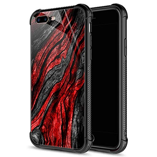 iPhone 8 Plus Case,9H Tempered Glass iPhone 7 Plus Cases for Men Boys, Black Red Wood Grain Pattern Design Shockproof Anti-Scratch Case for Apple iPhone 7/8 Plus 5.5-inch Wood Grain