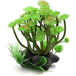 uxcell Green Plastic Lifelike Plant Terrarium Aquarium Reptiles Tank Decorative Ornament with Stand