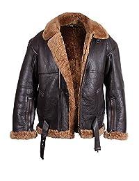 ABSY Mens Aviator Real Shearling Sheepskin Leather Bomber Flying Jacket