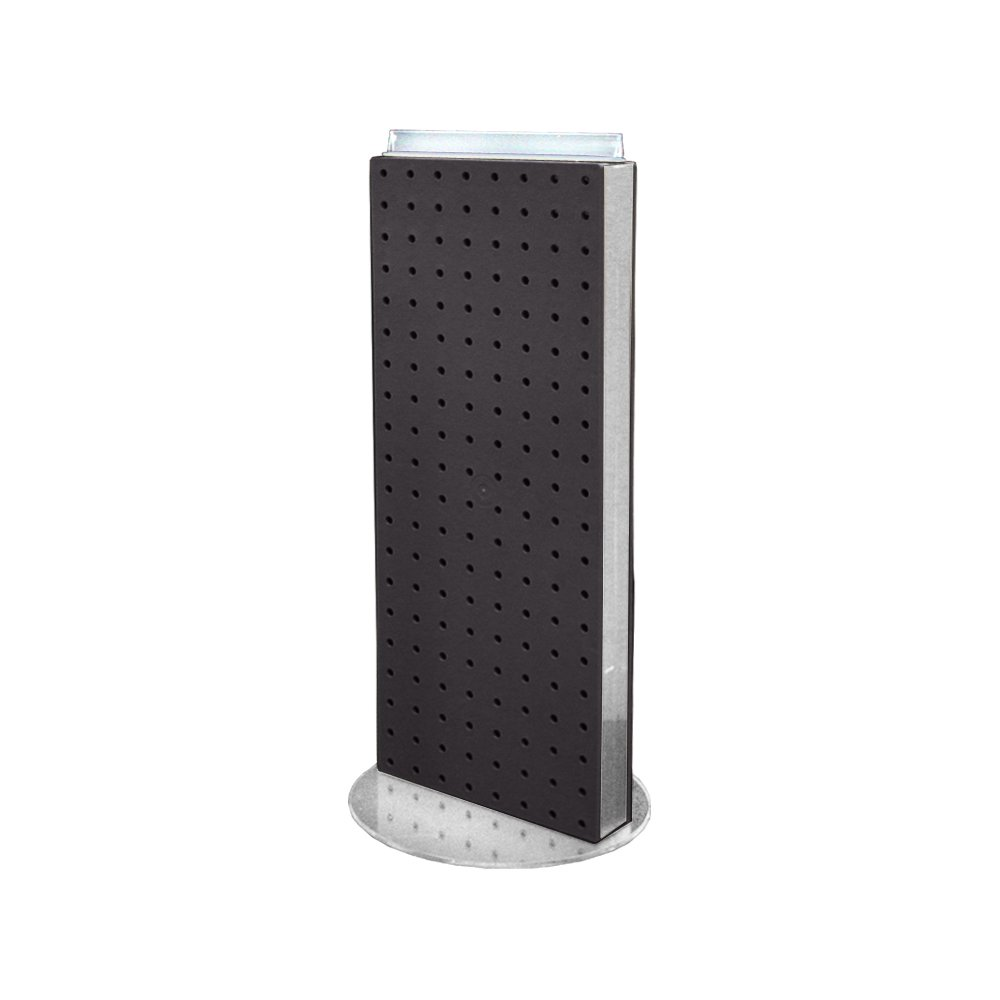 Azar 700509-BLK Non-Revolving Base Solid Pegboard Counter Unit, 8-Inch Width by 20-Inch Height on 9-Inch, Black
