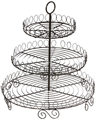Creative Home Iron Works 3-Tier Cupcake Stand, Black (Wrought Iron Dessert)