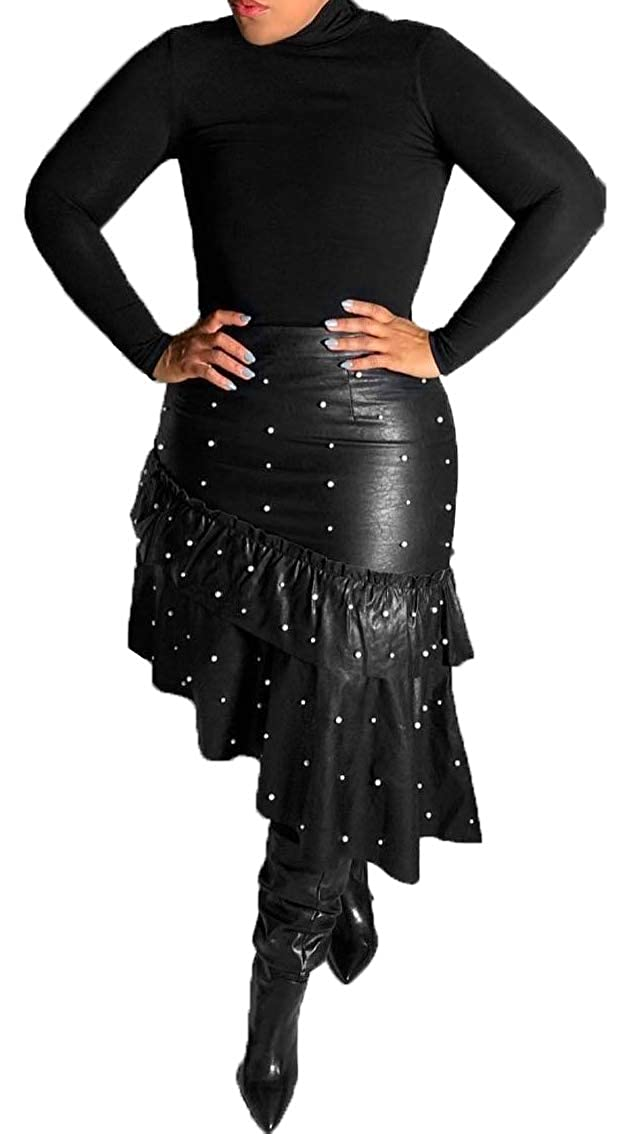 02d176a31e9 LKOUS Leather Skirts for Women PU Pearl Ruffle Asymmetrical Hem Knee Length Black  Skirt Plus Size at Amazon Women s Clothing store